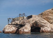 Guano Collection Structures At Islas Ballestas In Stock Images