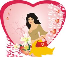 Girl And Chamomiles. Valentines Day Royalty Free Stock Photo