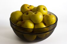 Free Yellow Apples In Glass Bowl Stock Photos - 4065483