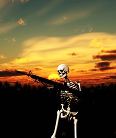 Free War Skeleton With Background Royalty Free Stock Photography - 4065937