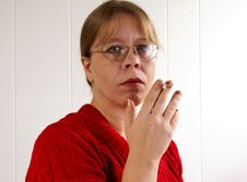 Woman Smoking Stock Photos