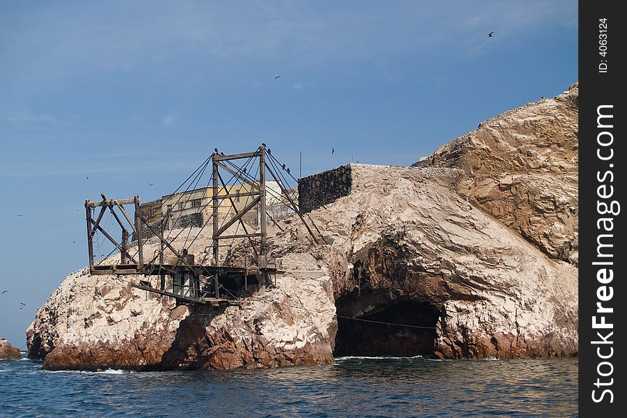 Guano collection structures at Islas Ballestas in