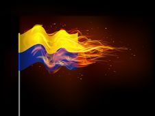 Free Ukrainian Flag In Flames. Stock Images - 40633624