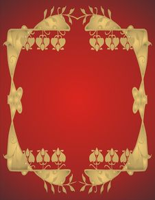 Free Abstract Gold Frame On Red Background - Stock Photo - 4070200