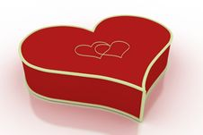 Closed Heart Shaped Box On White Background Stock Images