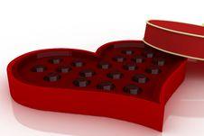 Opened Heart Shaped Box On White Background Stock Image