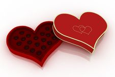 Free Opened Heart Shaped Box With Chocolates On White B Stock Photography - 4070952