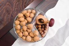 Walnuts, Hazelnuts On Table Royalty Free Stock Image