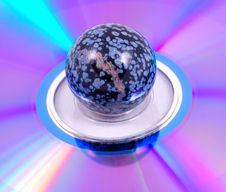 Painted Ball On A Rainbow Surface Royalty Free Stock Photography