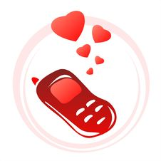 Free Phone And Hearts Royalty Free Stock Photos - 4074778
