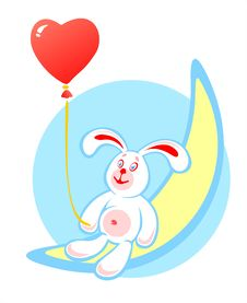 Rabbit And Red Balloon Stock Photography
