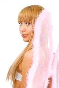 Woman With Pink Wings Stock Photo