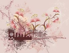 Free Floral Technical Background Royalty Free Stock Image - 4076916