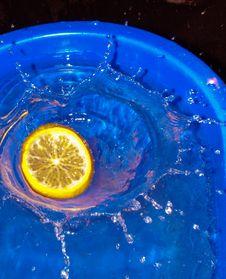 Free Citrus Fruit Slice Fallen In Water Royalty Free Stock Image - 4077576