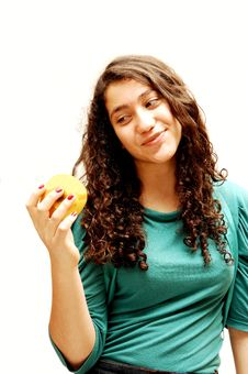 Free Young Girl And Apple. Royalty Free Stock Image - 4077916