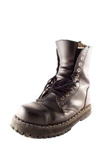 Free Army Style Black Leather Boot Royalty Free Stock Photo - 4078775