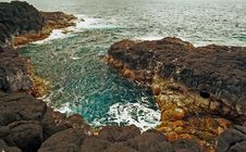 Free Kauai Coatal Black Lava Rock Pool Stock Image - 4079661