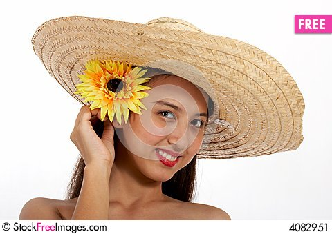 Free Lady Putting A Flower Stock Image - 4082951