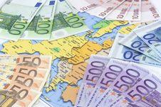 Free Euros At Map Royalty Free Stock Photos - 4080668