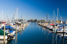 Between Moored Boats Royalty Free Stock Photography
