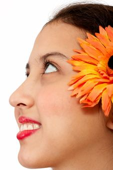 Free Lady With Flower On Her Ear Royalty Free Stock Photography - 4082947