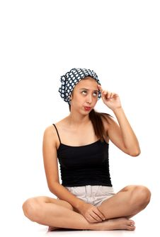 Free Girl Sitting While Thinking Royalty Free Stock Photography - 4083297