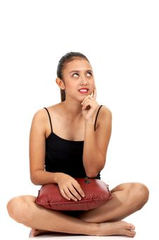Free Girl Sitting Down And Thinking Royalty Free Stock Images - 4083359