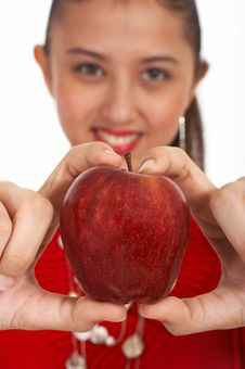 Free Lady In Red Apple Royalty Free Stock Images - 4083719