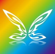 Free Butterfly On The Rainbow Squar Royalty Free Stock Photo - 4084655
