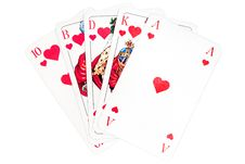 Free Hearts Royal Flush Royalty Free Stock Photos - 4085058