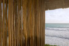 Bamboo Shelter At Beach Royalty Free Stock Images