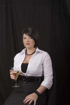 Free Black Hair And Wine Stock Photo - 4085490