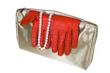 Free Female Bag With Gloves And Costume Jewellery Royalty Free Stock Images - 4085539