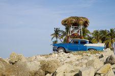 Tropical Beach Oldtimer Stock Photography