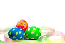 Handpainted Easter Eggs And Ribbon Royalty Free Stock Photo