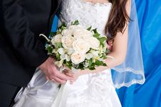 A Beautiful Rose Bouquet In The Hands Of The Bride Royalty Free Stock Photography