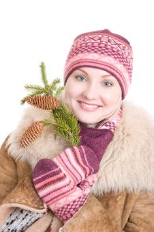 Girl With A Branch Of Fur Tree Stock Photo