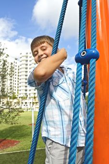 Free Kid Climbing Ropes Stock Photo - 4089210