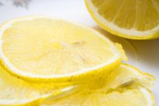 Macro Close-up Of Fresh Slices Of Lemon Stock Images