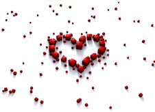 Free Rendered Red Heart Made Of Cubes Stock Photo - 4092160