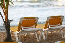 Free Chaise Longues On The Beach Stock Photography - 4093012