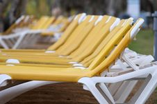 Free Chaise Longues On The Beach Stock Photo - 4093050