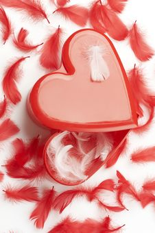 Free Heart Shaped Gift Box And Feathers Stock Images - 4093154