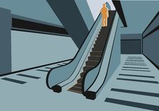 Free Persons On Escalator In Shop Royalty Free Stock Images - 4093699