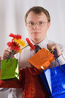 Free The Man With Presents Royalty Free Stock Images - 4093989