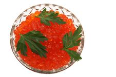 Free Dish With Red Caviar Stock Image - 4094631