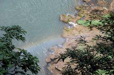 Huangguoshu Waterfall Vapor With Rainbow Royalty Free Stock Photo