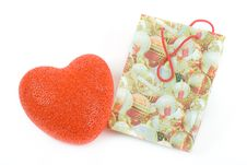 Gift Bag With Heart Royalty Free Stock Photos