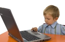 Free A Child With A Laptop. Royalty Free Stock Photography - 4095637