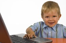Free A Child With A Laptop. Stock Photos - 4095643
